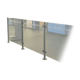 glass barrier with rails