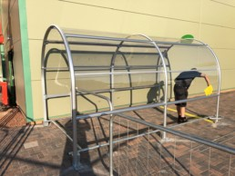 contemporary trolley shelter being fitted