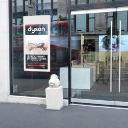 Hanging Double Sided Window Displays Application Image Dyson Outside